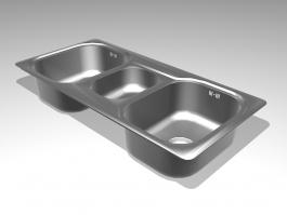Three Bowl Kitchen Sink 3d preview