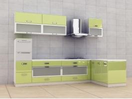Lemon Green Kitchen Cabinet Design 3d preview