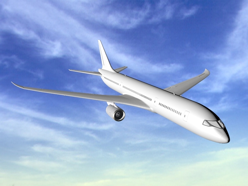 Airbus A350 Airliner 3d rendering