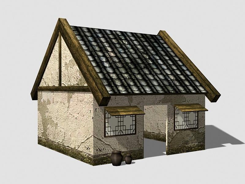Old Dilapidated Houses 3d rendering