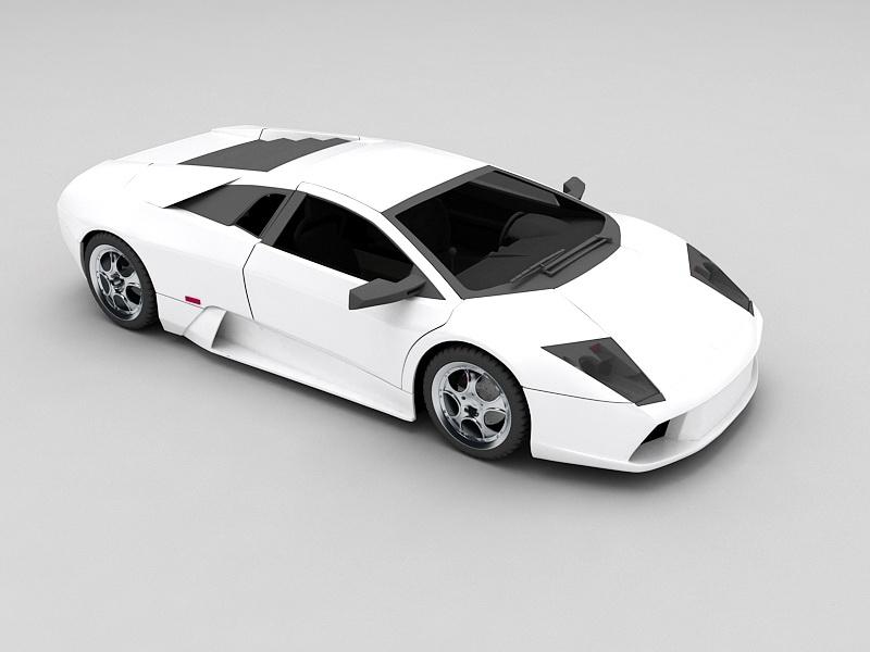 White Lamborghini Gallardo E-Gear 3d rendering