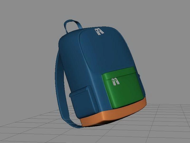 Blue School Backpack 3d rendering