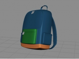 Blue School Backpack 3d preview