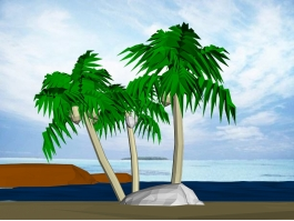 Palm Trees on The Beach 3d preview