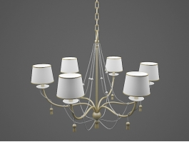 Brass Chandelier with Shades 3d model preview