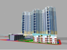 High Rise Residential Building 3d model preview