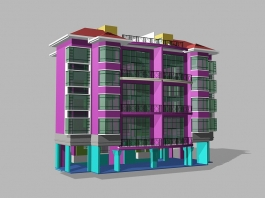 Modern Urban Apartment Building 3d model preview