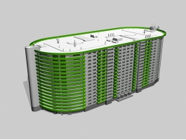 High Multistoried Apartment Building 3d model preview