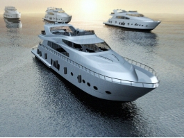 Yachts in Ocean at Sunset 3d preview