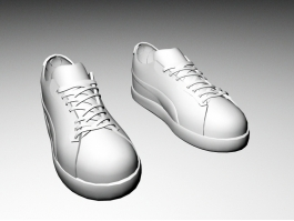 White Skate Shoes 3d preview